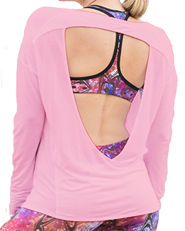Long Sleeve Open Back Top (Pink)