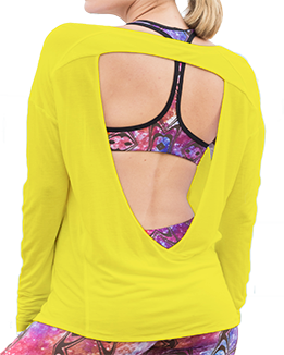 Long Sleeve Open Back Top (Yellow)