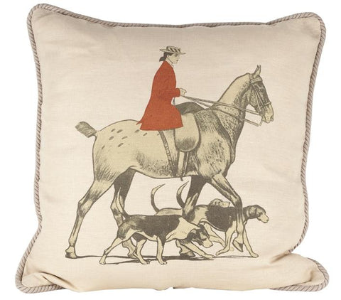 Ox Bow Decor Horse and Hounds Down Pillow - PoloWorld.net