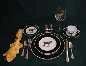 Polo Plates Black/Brown Rim - 5-pc Place Setting - Polo Horse - PoloWorld.net