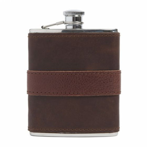 Moore & Giles Leather-Wrapped Flask - PoloWorld.net