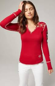 Alp-N-Rock Woman's Edelweiss Henley Long Sleeve In Red - PoloWorld.net