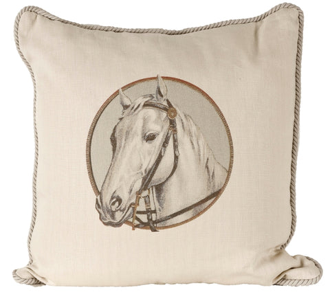 Ox Bow Decor Horse Cameo Khaki Down Pillow - PoloWorld.net