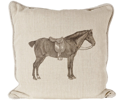 Ox Bow Decor Horse And Saddle Down Pillow - PoloWorld.net