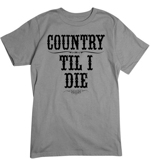 Charcoal - Men's Country Til I Die Tee Shirt