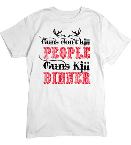 White - Men's Guns Kill Dinner Basic T-Shirt