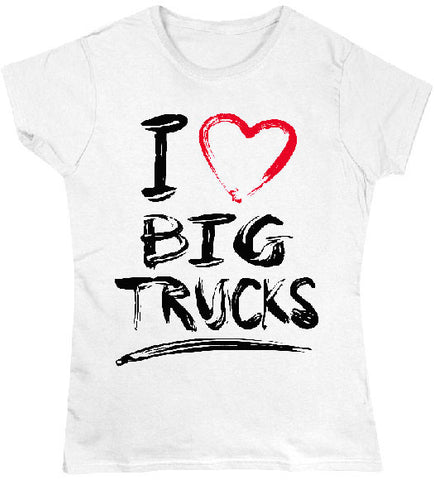 White - Juniors Big Trucks T-Shirt
