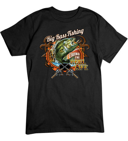 Black - Men's Big Bass Fishing T-Shirt