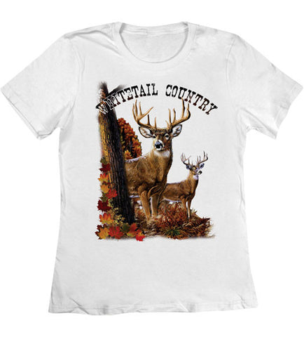 White - Women's Whitetail Deer Country T-Shirt