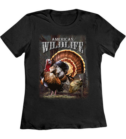 Black - Women's Wildlife Turkey T-Shirt
