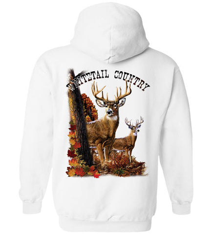 White - Men's Whitetail Deer Country Hoodie