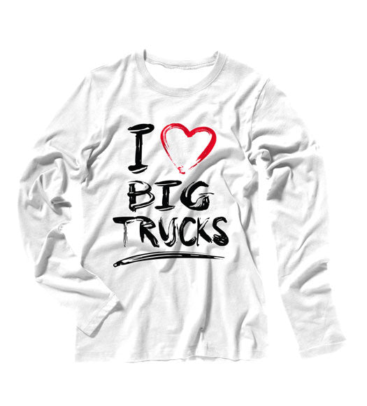 White - Juniors Big Trucks Long Sleeve Tee