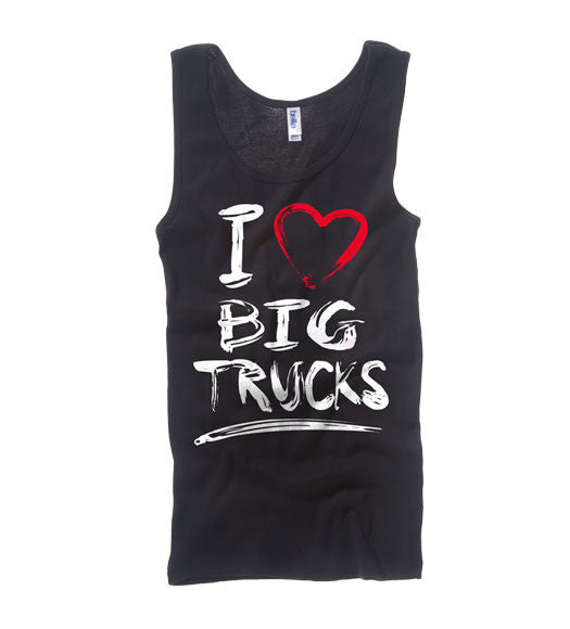 Black - Juniors Big Trucks 2 Wide Strap Tank