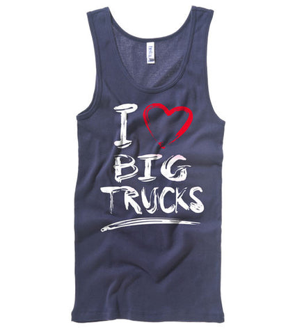 Navy - Juniors Big Trucks 2 Wide Strap Tank
