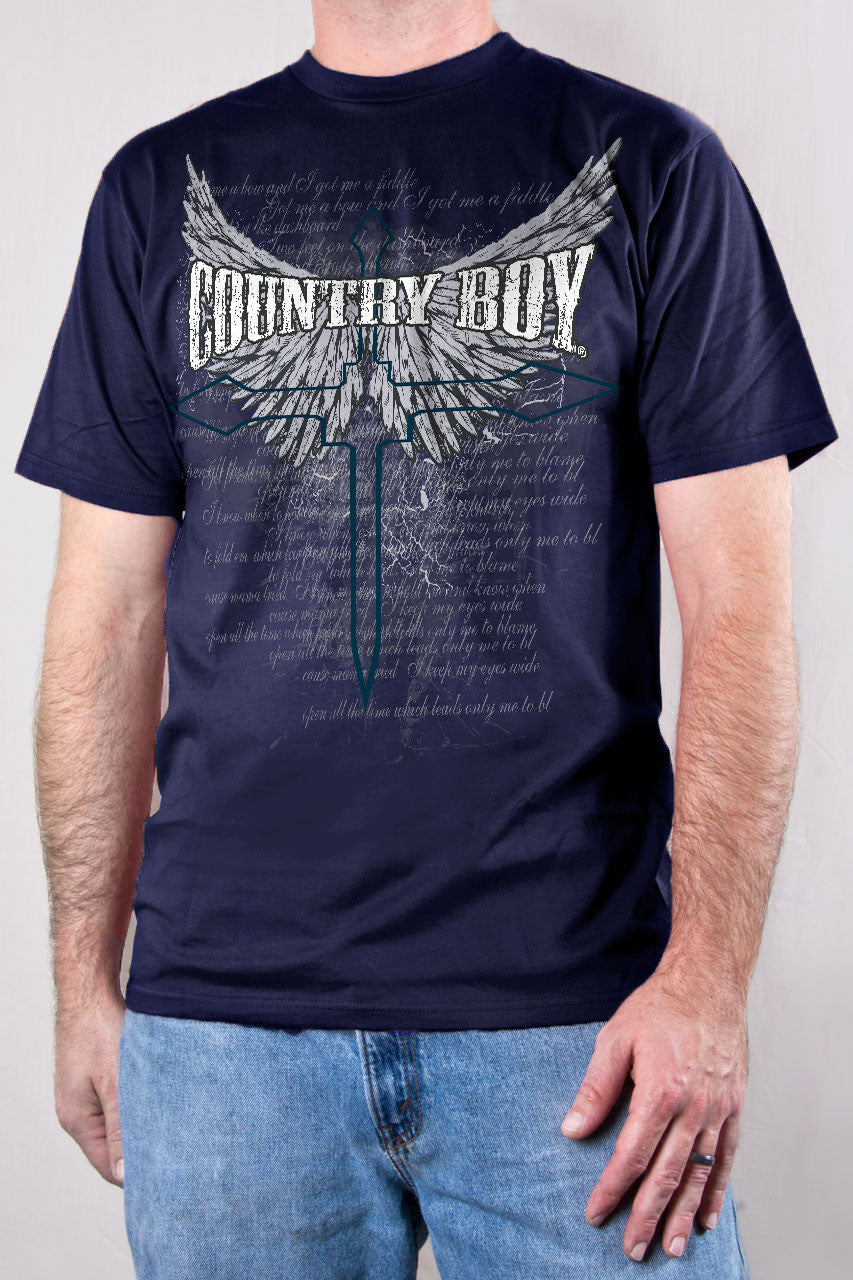 Navy - Men's Cross Wings Short Sleeve Tee
