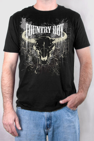 Black - Men's Steer Skull Short Sleeve Tee