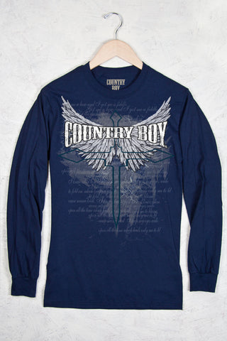 Navy - Men's Cross Wings Long Sleeve Tee