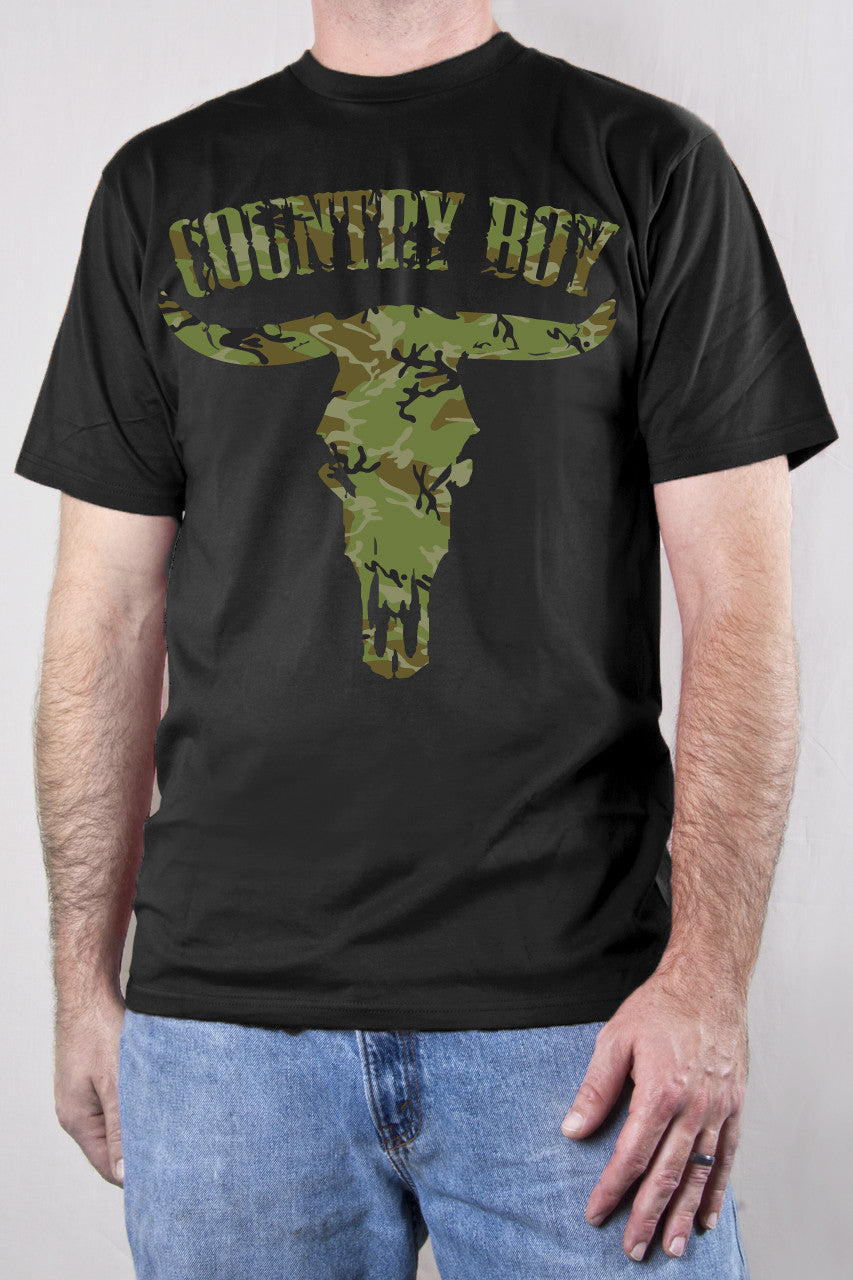 Black - Men's Camo Steer Skull Short Sleeve Tee