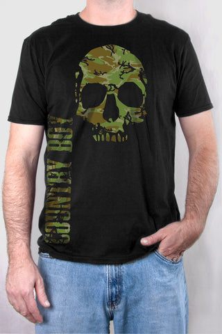 Black - Men's Camo Skull Short Sleeve Tee