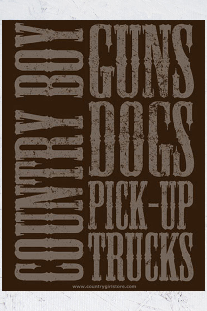 "Country Boy® - Guns Dogs Pickup Trucks 18"" x 24"" Poster"
