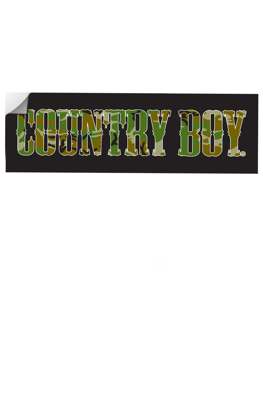"Country Boy® - Camo Logo 10"" x 3"" Bumper Sticker"