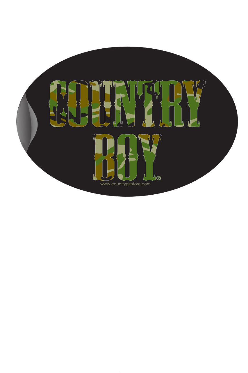 "Country Boy® - Camo Logo 6"" x 4"" Oval Bumper Sticker"
