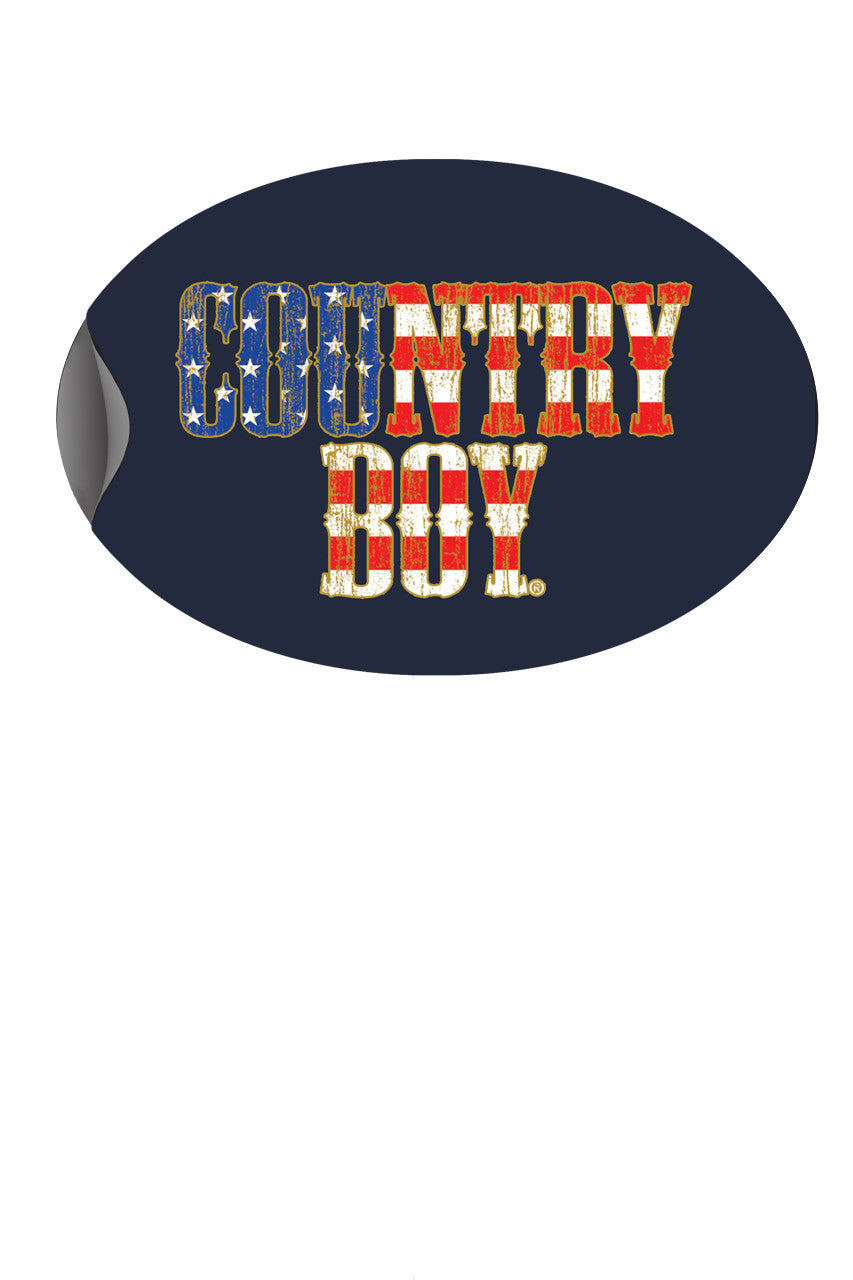 "Country Boy® - USA Flag Logo 6"" x 4"" Oval Bumper Sticker"