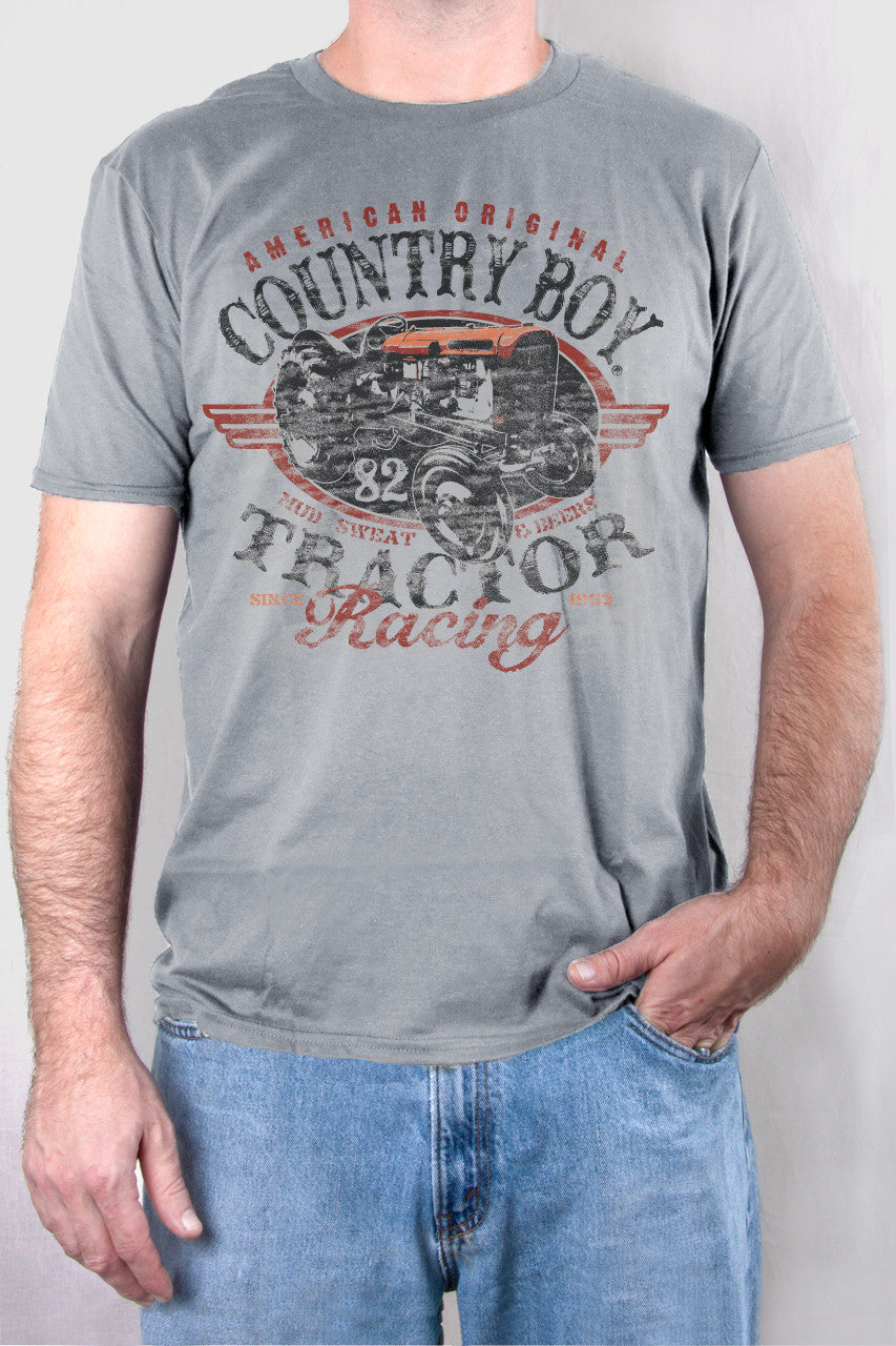 Silver - Men's Tractor Racing Short Sleeve Tee