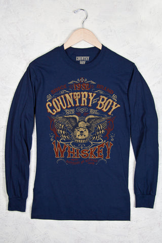 Navy - Men's Whiskey Long Sleeve Tee