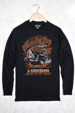 Black - Men's Master of the Road Long Sleeve Tee