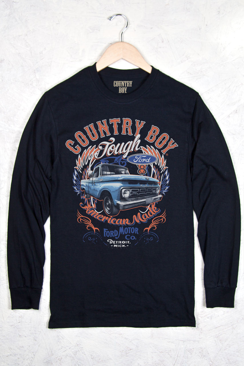 Black - Men's Ford Tough Long Sleeve Tee