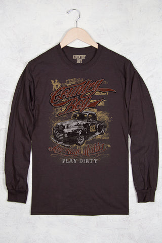 Dark Chocolate - Men's American Mudder Long Sleeve Tee