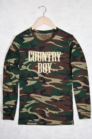 Green Camo - Men's Logo Camo Long Sleeve Tee