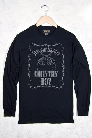 Black - Men's Straight Shootin' Long Sleeve Tee