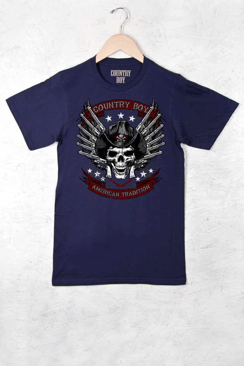 Navy - Men's Skull Pistols Short Sleeve Tee