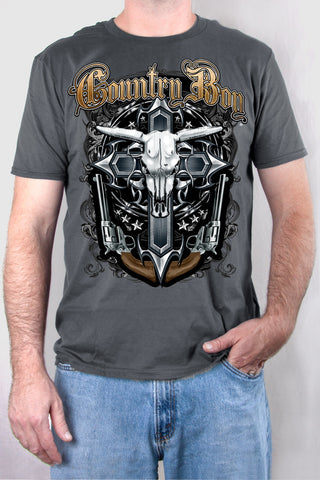 Storm - Men's Steer Skull and Cross Short Sleeve Tee