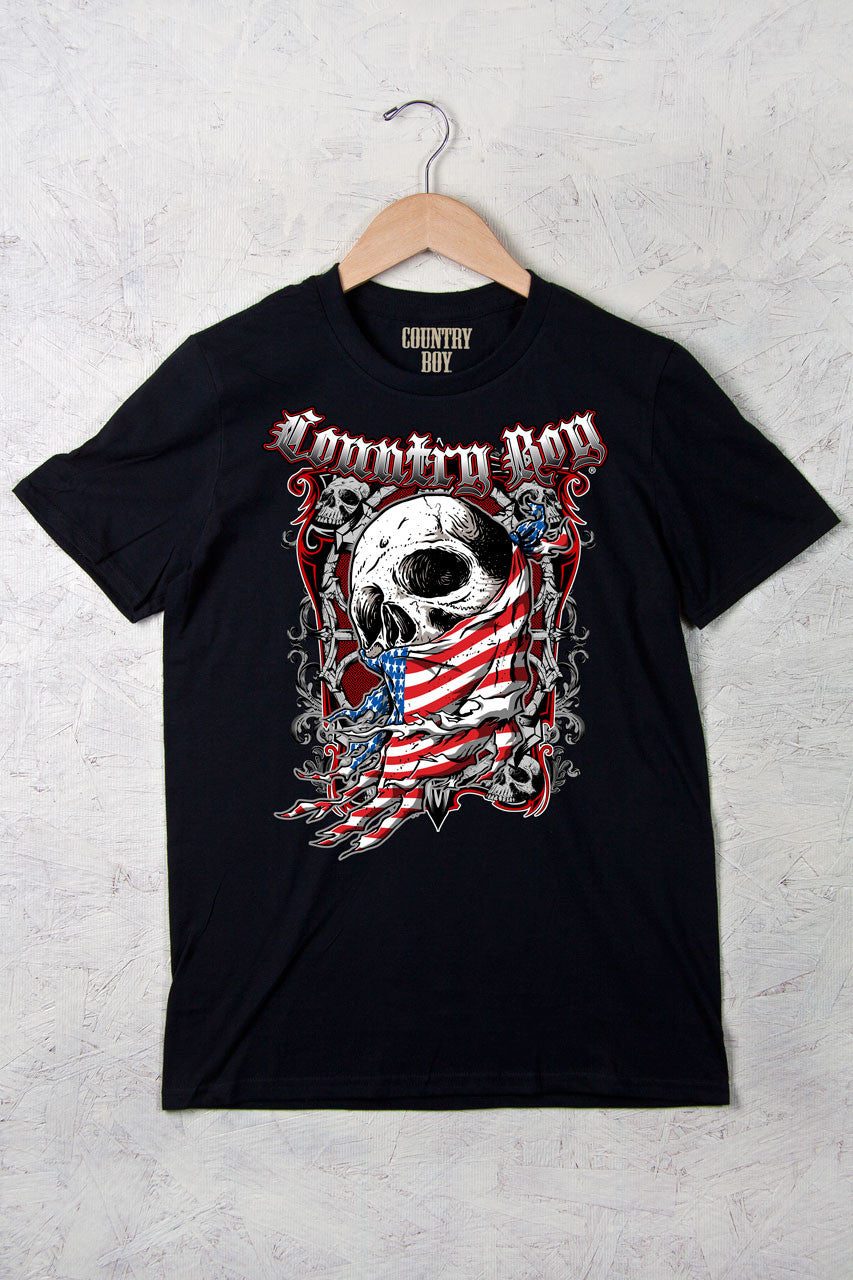 Black - Men's Flag Skull Short Sleeve Tee