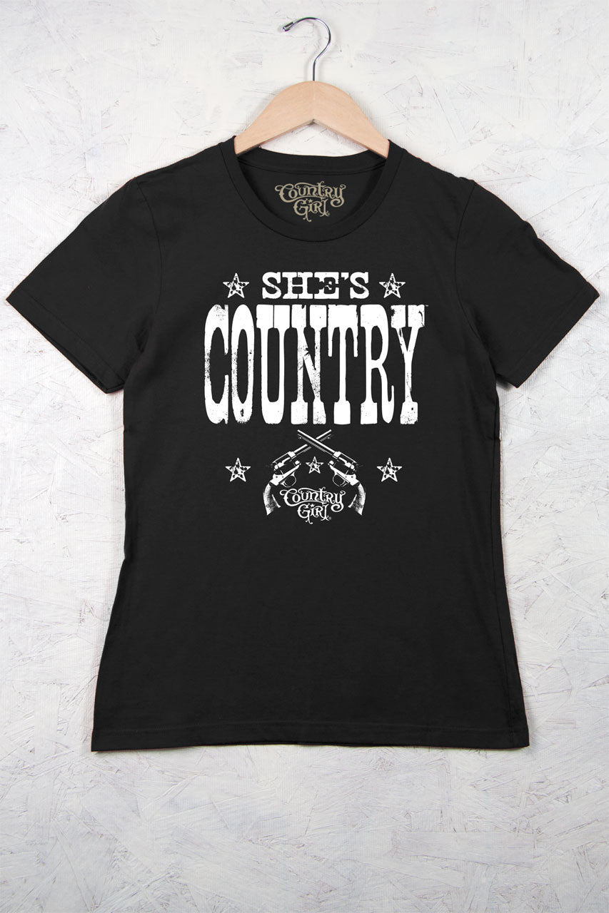 Black - Women's She's Country Short Sleeve Tee
