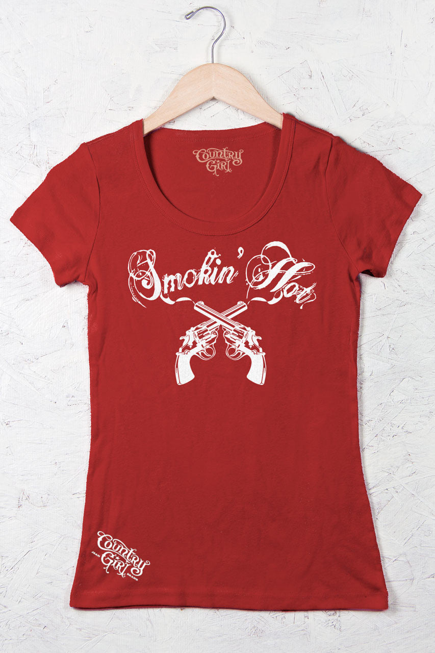 Red - Juniors Smokin' Hot Short Sleeve Scoop Neck Tee