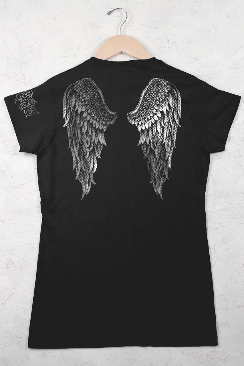Black - Juniors Angel Wings in Foil Tee
