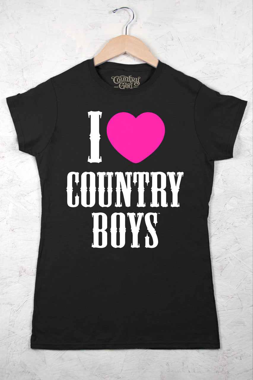 Black - Juniors I Heart Country Boys ™ Crew Neck Tee