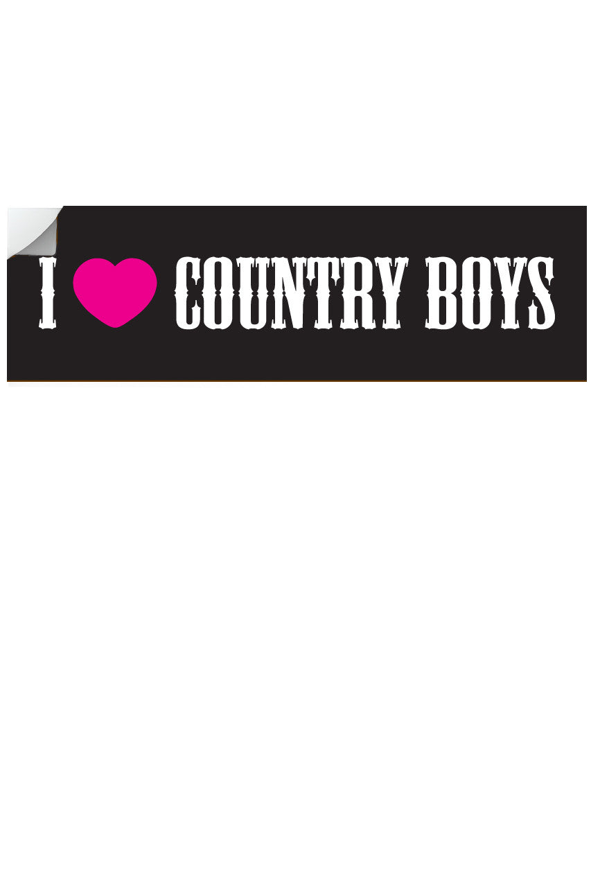 "Country Girl® - I Heart Country Boys™™ 10"" x 3"" Bumper Sticker"