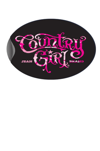 "Country Girl® - Pink Camo Logo 6"" x 4"" Oval Bumper Sticker"