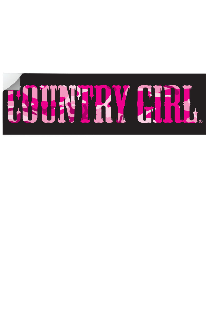 "Country Girl® - Pink Camo Logo 10"" x 3"" Bumper Sticker"