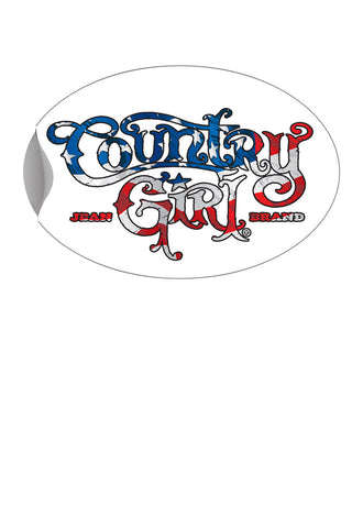 "Country Girl® - USA Flag Logo 6"" x 4"" Oval Bumper Sticker"