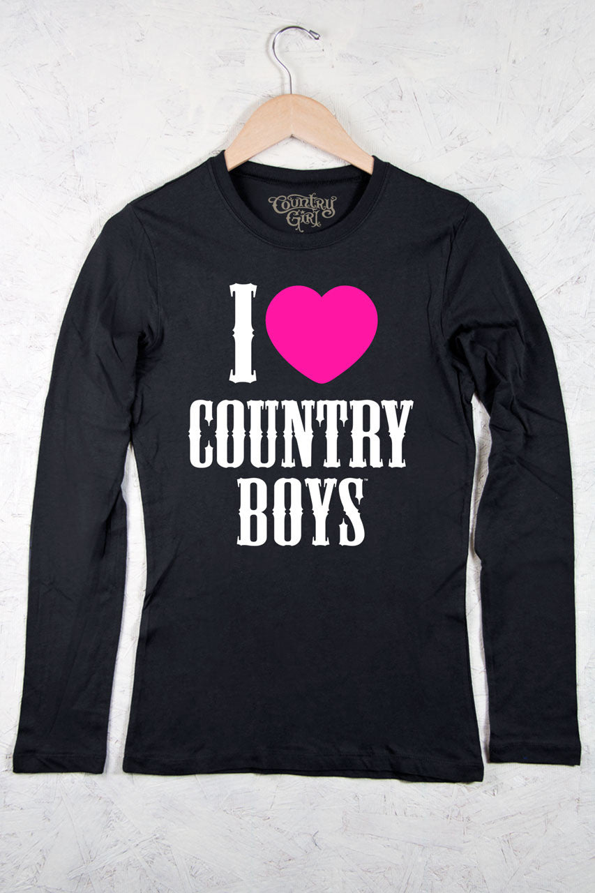Black - Juniors I Heart Country Boys™™ Fitted Long Sleeve Tee