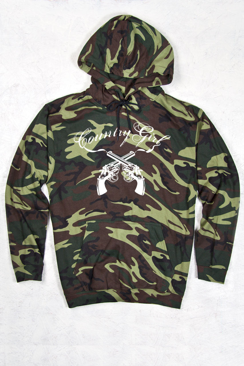 Green Camo - Women's Guns Relaxed Camo Pullover Hoodie
