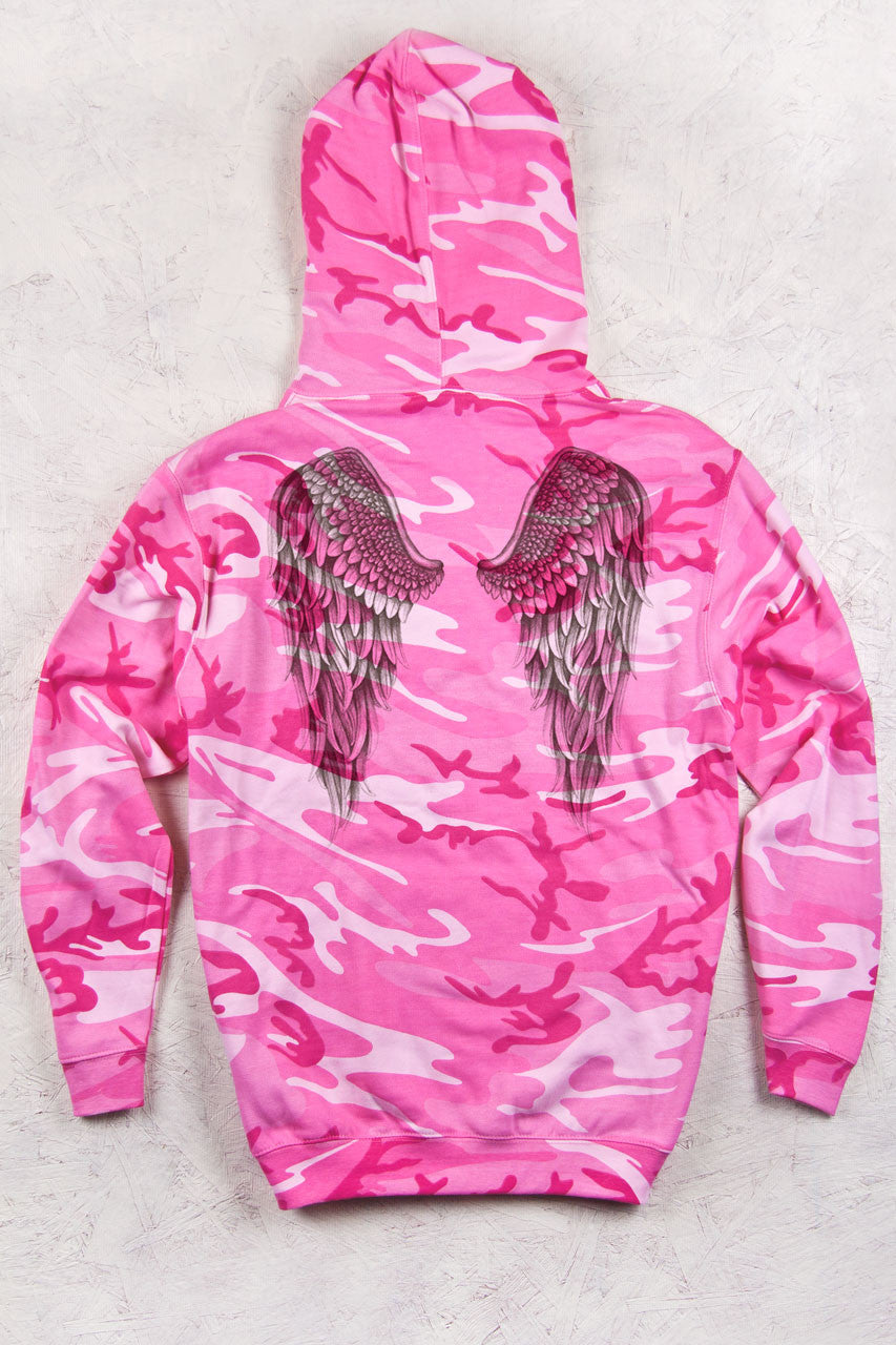 Pink Camo - Women's Angel Wings Relaxed Camo Pullover Hoodie