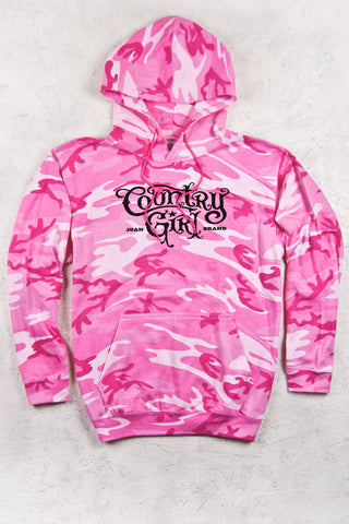 Pink Camo - Women's Logo Relaxed Pink Camo Pullover Hoodie
