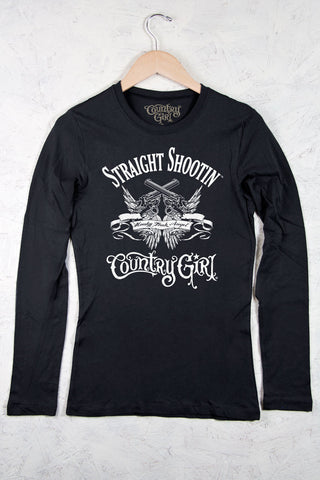 Black - Juniors Straight Shootin' Fitted Long Sleeve Tee